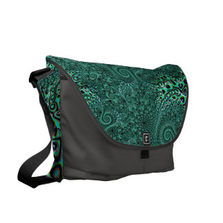 Teal Octopus Tentacles Steampunk Style Fractal Art Courier Bag
