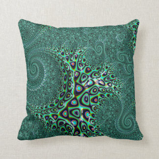 Teal Octopus Tentacles Steampunk Style Fractal Art Cushion