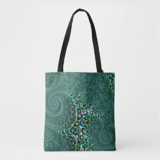 Teal Octopus Tentacles Steampunk Style Fractal Art Tote Bag