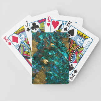 Teal Oil Slick and Gold Quartz Bicycle Playing Cards