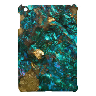 Teal Oil Slick and Gold Quartz iPad Mini Cover