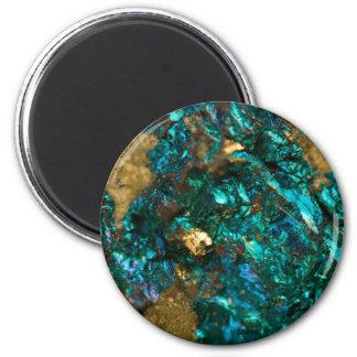 Teal Oil Slick and Gold Quartz Magnet