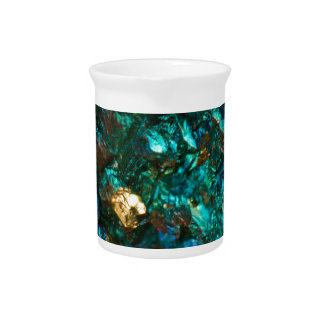 Teal Oil Slick and Gold Quartz Pitcher