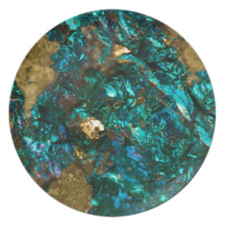 Teal Oil Slick and Gold Quartz Plate