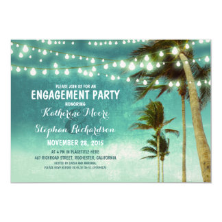 teal ombre beach engagement party string lights card
