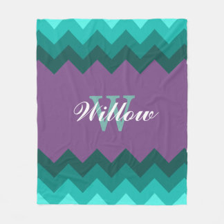 Teal Ombre Chevrons Monogram Fleece Blanket