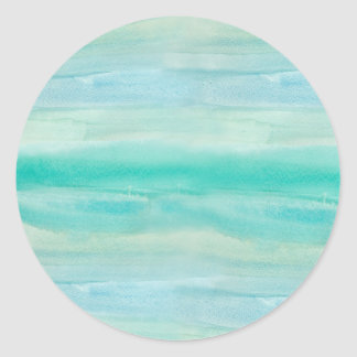 Teal Ombre Watercolor Round Sticker
