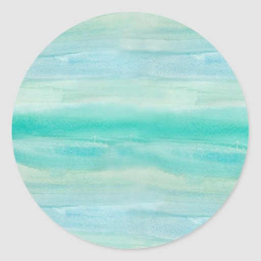 Teal Ombre Watercolor Round Stickers