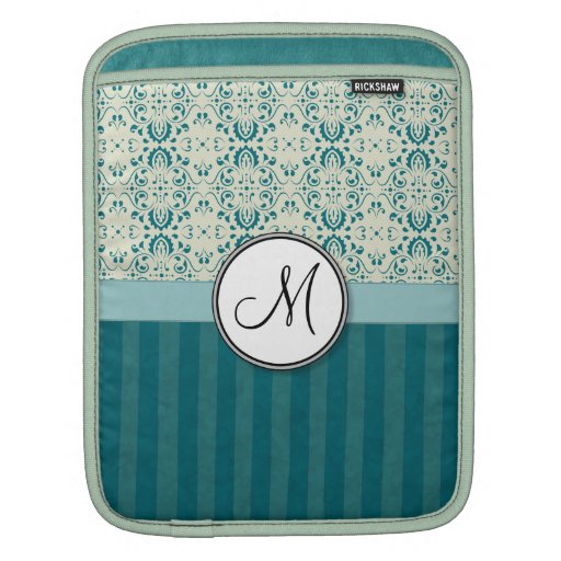 Teal on Cream Damask with Stripes and Monogram iPad Sleeves