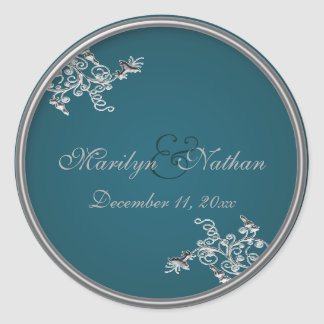 "Teal on Pewter Monogrammed 1.5"" Round Sticker"