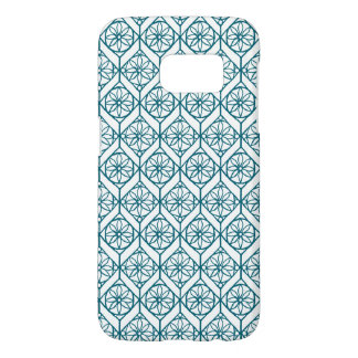 Teal on White Ethnic Pattern, Flowers, Chevrons