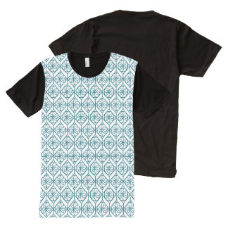 Teal on White Ethnic Pattern, Flowers, Chevrons All-Over Print T-Shirt