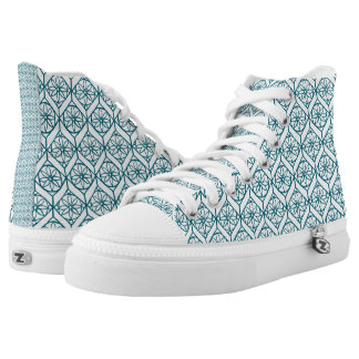 Teal on White Ethnic Pattern, Flowers, Chevrons High Tops