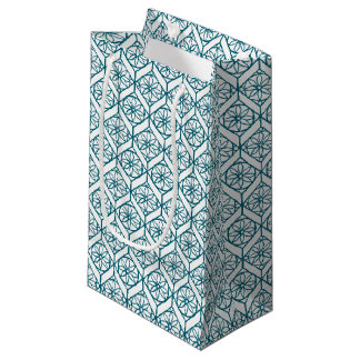 Teal on White Ethnic Pattern, Flowers, Chevrons Small Gift Bag