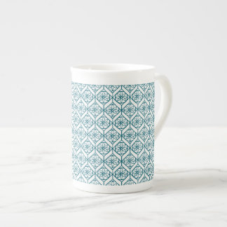 Teal on White Ethnic Pattern, Flowers, Chevrons Tea Cup
