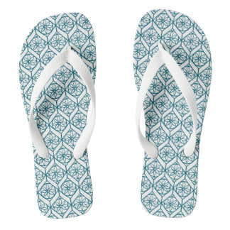 Teal on White Ethnic Pattern, Flowers, Chevrons Thongs