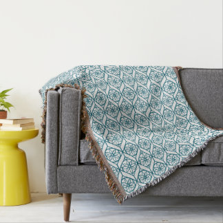 Teal on White Ethnic Pattern, Flowers, Chevrons Throw Blanket