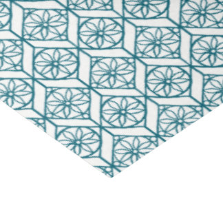 Teal on White Ethnic Pattern, Flowers, Chevrons Tissue Paper