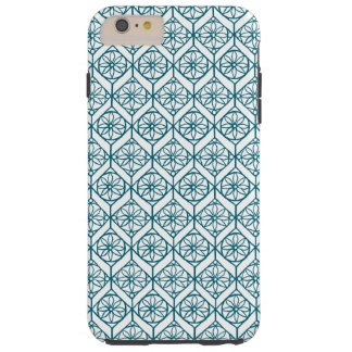 Teal on White Ethnic Pattern, Flowers, Chevrons Tough iPhone 6 Plus Case