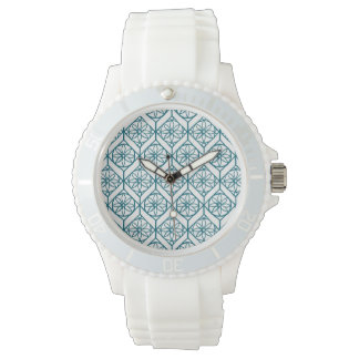 Teal on White Ethnic Pattern, Flowers, Chevrons Watch