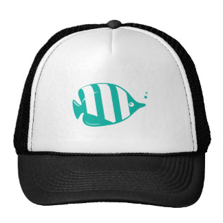 Teal or Turquoise Cartoon Fish Cap
