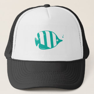 Teal or Turquoise Cartoon Fish Trucker Hat