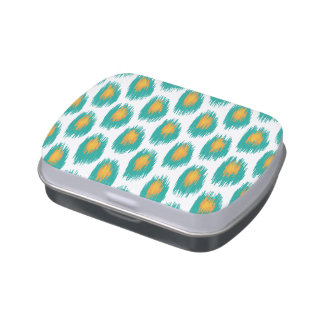 Teal Orange Abstract Tribal Ikat Circle Pattern Candy Tins