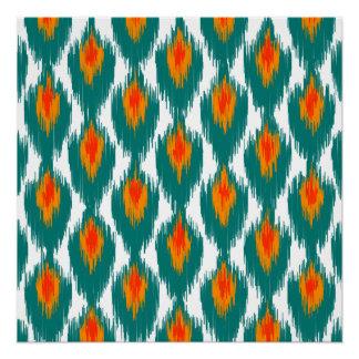 Teal Orange Abstract Tribal Ikat Diamond Pattern