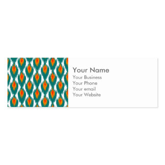 Teal Orange Abstract Tribal Ikat Diamond Pattern Business Card Template