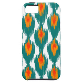 Teal Orange Abstract Tribal Ikat Diamond Pattern Cover For iPhone 5/5S