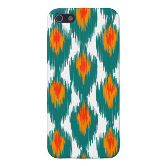 Teal Orange Abstract Tribal Ikat Diamond Pattern iPhone 5/5S Covers