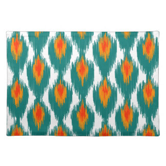 Teal Orange Abstract Tribal Ikat Diamond Pattern Placemats