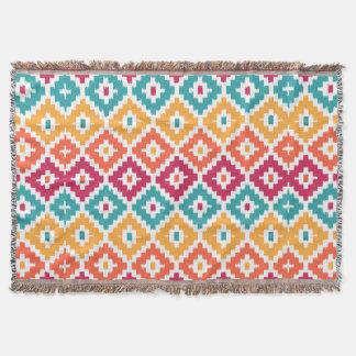 Teal Orange Aztec Tribal Print Ikat Diamond Pattrn Throw Blanket