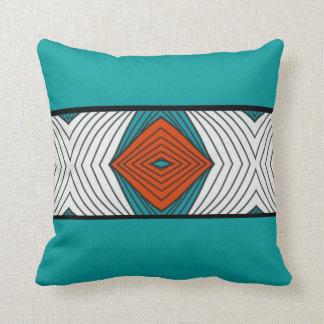 Teal & Orange Tribal Feather Pattern Pillow