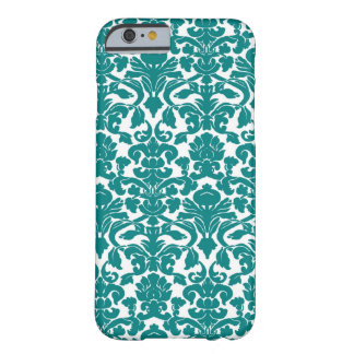 Teal Ornate Floral Damask Pattern Barely There iPhone 6 Case