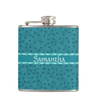 Teal Ostrich Skin Look Custom Flask
