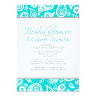Teal Paisley Bridal Shower Invitations