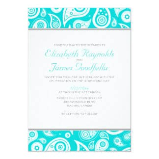 Teal Paisley Wedding Invitations