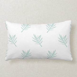 Teal Palm Leaf Design Lumber Pillow