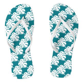 Teal palm leaf print beach slippers or flip flops thongs