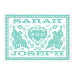 Teal Papel Picado Love Birds Personalized Announcements