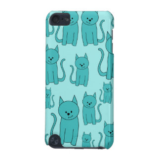 Teal Pattern of Cute Cats. iPod Touch (5th Generation) Case