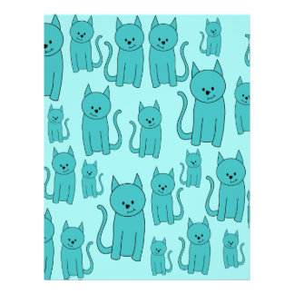 Teal Pattern of Cute Cats. 21.5 Cm X 28 Cm Flyer