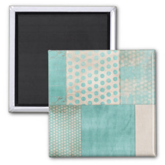 Teal Pattern Quilt Blocks Fridge Magnets