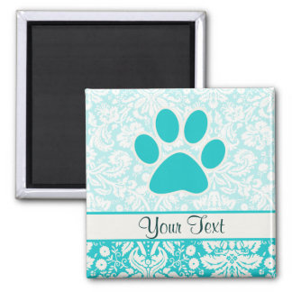 Teal Paw Print Square Magnet