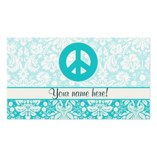 Teal Peace Sign Business Card Template