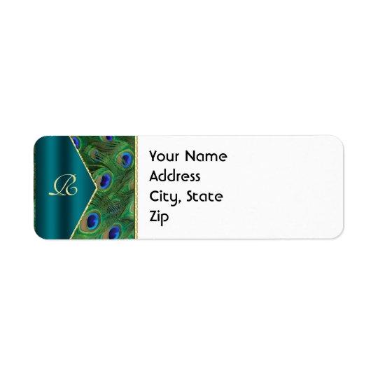 Teal Peacock Address Label