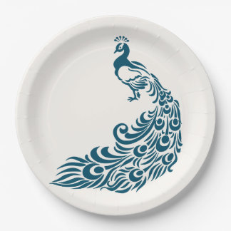 Teal Peacock Bold Stylish Art Deco Design Paper Plate