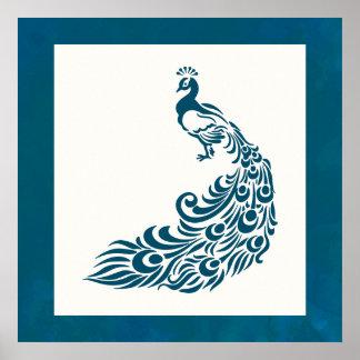 Teal Peacock Bold Stylish Art Deco Design Poster