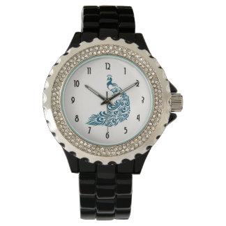 Teal Peacock Bold Stylish Art Deco Design Wristwatches